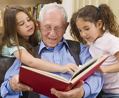 grandfather reading binder